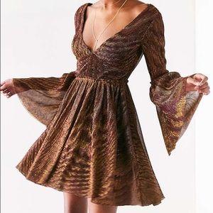 Starstruck Metallic Glitter Bell Sleeve Dress